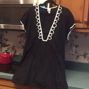 Black woven tunic cream embellishments sleeve bind